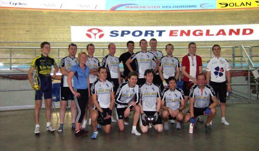 The Chorlton Velo group at the Velodrome in Manchester